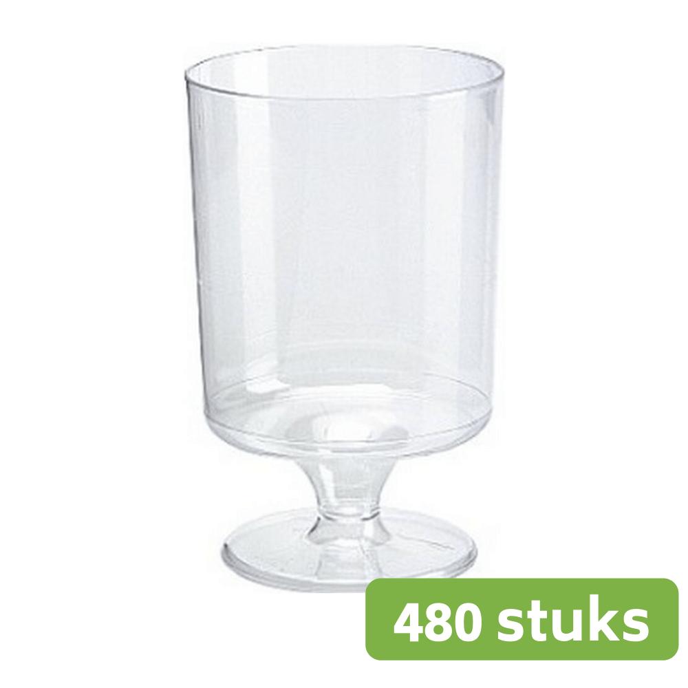 Plastic wijnglas op voet 150 ml 10 x 48 stuks