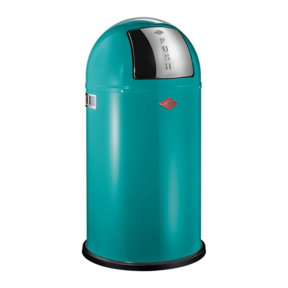Wesco Pushboy Grijs.Prullenbak 50ltr Wesco Pushboy Turquoise
