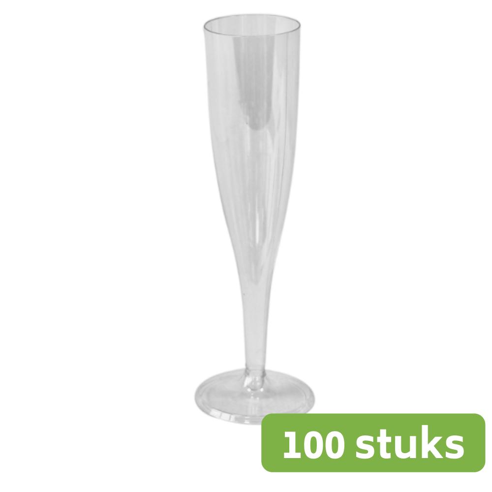 Plastic Champagneglas op voet 100 ml 10 x 10 stuks