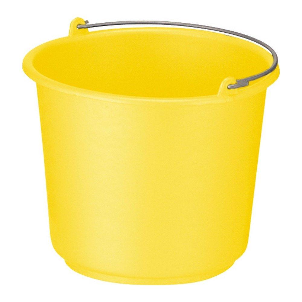 Bouwemmer met hengsel 12 liter geel 12st
